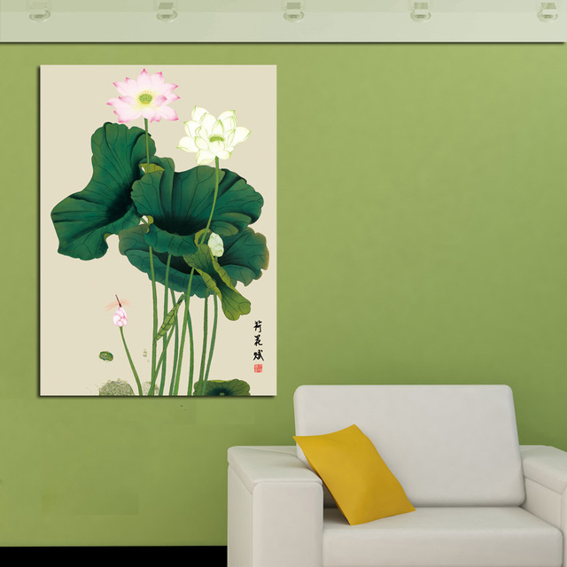 Large Single Wall Art Picture Traditional Chinese Green Lotus Leaf Painting Canvas Printed Red and White & Large Single Wall Art Picture Traditional Chinese Green Lotus Leaf ...