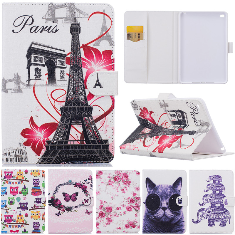 For IPad Air 2 Cute Cartoon Butterfly Paris Tower Stand Flip Leather Fundas Case For Apple IPad Air2 IPad 6 IPad6 Tablet Cover fashion 3d cute cartoon daisy duck soft silicone rubber cases cover for apple ipad air 2 ipad6 air2 case for ipad 6 coque fundas