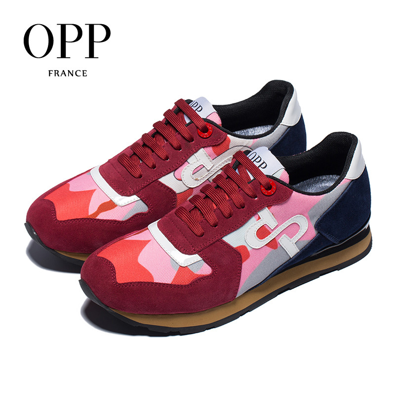 OPP Men's Shoes Fashion Lace-up camouflage Military Style Sneakers Genuine Leather Large Size Cherry Pink Casual Shoes