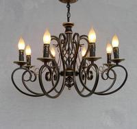 Natal Europeia Candelabro da lâmpada Do Teto Da Forma Do Vintage 6/8 Vela Acende Luminárias de Ferro Home Lighting E14 Moderno