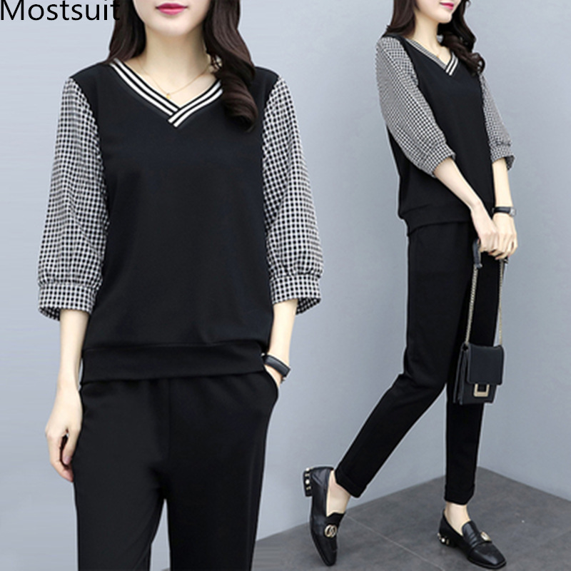 Xl-5xl Spring Summer Black Plaid Two Piece Sets Women Plus Size 3/4 Sleeve Tops And Pants Suits Sets Casual Office Women's Sets 23