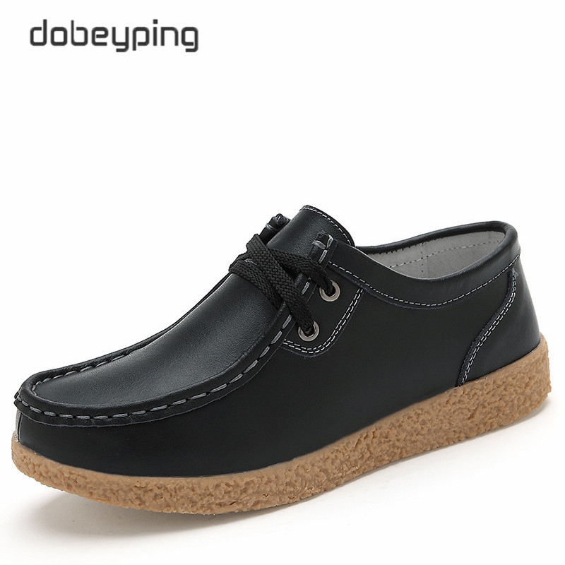dobeyping New Spring Autumn Shoes Woman Genuine Leather Women Shoes Lace-Up Women's Loafers Moccasins Flats Female Mom Sneakers lovexss genuine leather white flats lace up woman girl student shoes 2017 spring autumn loafers shallow crystal flats
