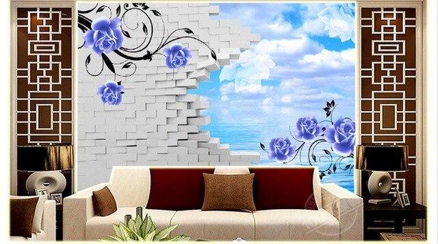 3d tapete custom 3d tv tapete wandbild wohnzimmer wand Blume TV ...