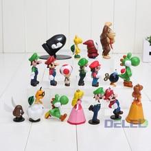 18Pcs/Set Cartoon Different Types Shapes 3-7cm Height Super Mario Plastic Action Figures Dolls Mario Hand Models