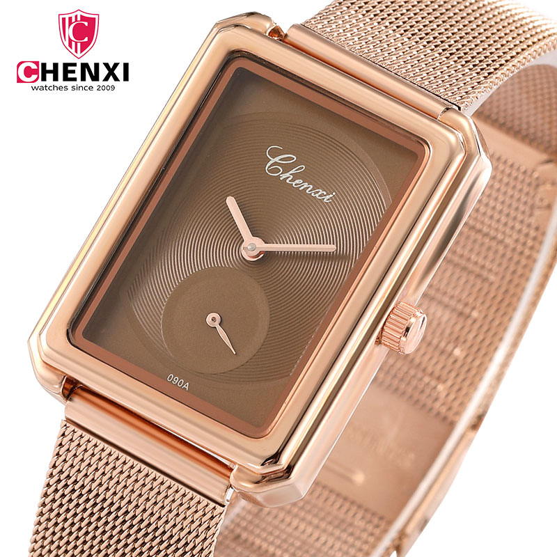 CHENXI Women Dress Watches Brand Ladies Quartz Watch Rose Gold Wrist Watch Steel Mesh Strap Waterproof Clcok Relogio Feminino fashion brand v6 quartz women watches rose gold steel thin case classic simple dial leather strap ladies watch relogio feminino