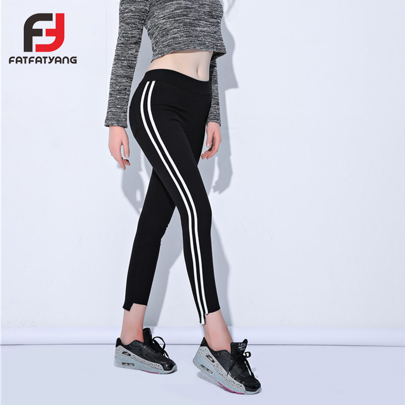 Ladies Side Striped Skinny Pants High Waist Workwear Woman Pants Casual Women Autumn Black Irregular Skinny Slim Trousers 2018