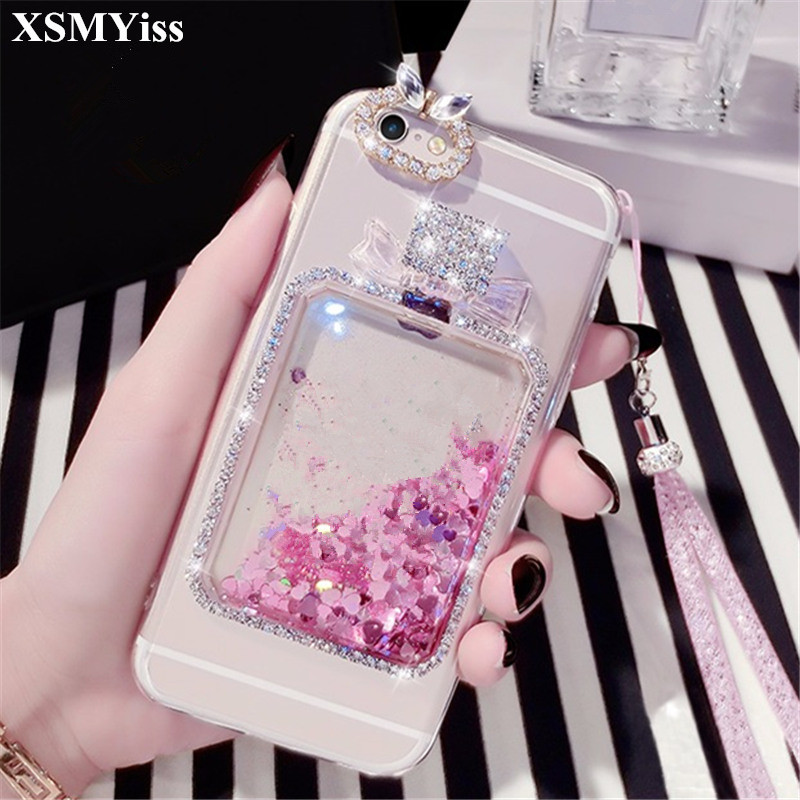 XSMYiss For Huawei P10 P20 Lite Mate 8 9 10 Pro Girls Rhinestone Diamond Bling Liquid sand bottle Quicksand soft phone case