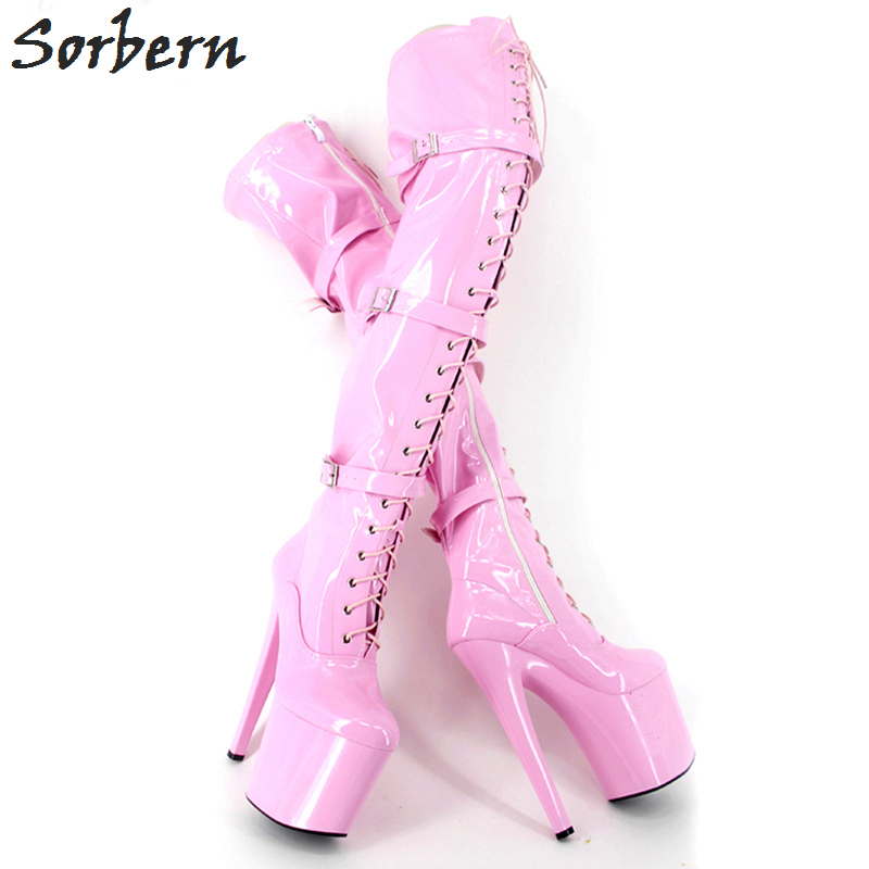 Sorbern Pink Over The Knee Thigh High Boots Extrem High Heels 20Cm/8 Shoes Ladies Platform Heel Boot Night Club Party Boots sorbern extrem high heel strange style wedges thigh high boots designer platform boots long custom shoes women plus size 4 15