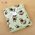 New Cartoon Animal Prints Green Super Soft Baby Blanket Popular 100% Fleece Minky Blanket Wholesale Polyster Cheap Baby Swaddle
