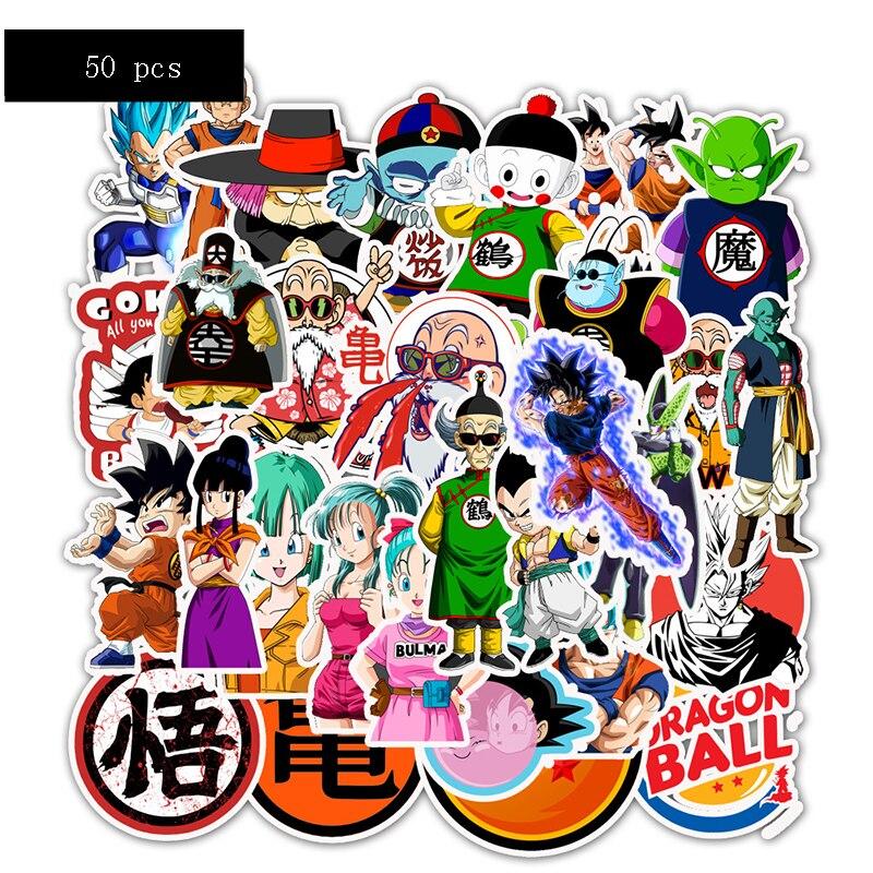 50pcs Waterproof Luggage Sticker Dragonballs Sticker Set Super Saiyan Goku Character Action Figure Pvc Sticker Kids Party