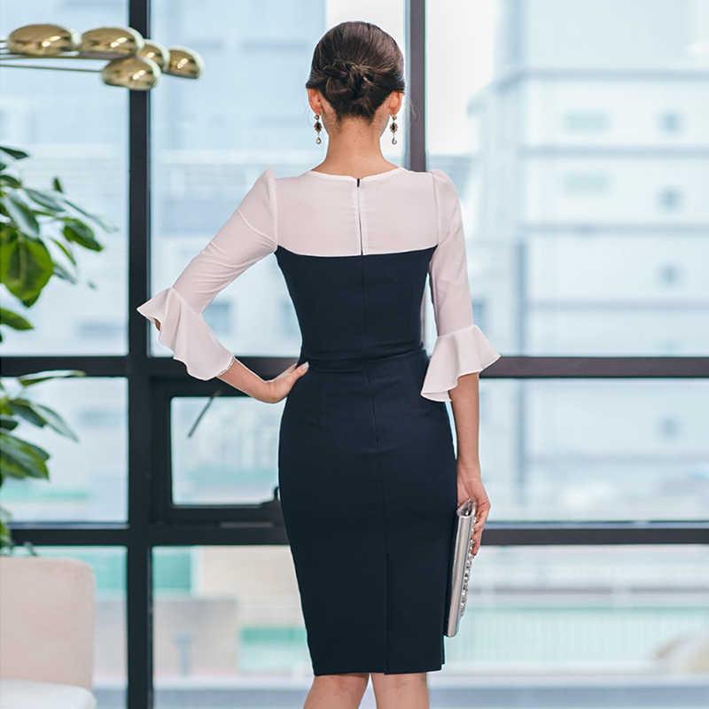 Элегантное тонкое женское платье с v-образным вырезом и коротким рукавом, винтажное облегающее платье миди, женское платье-карандаш, 2019 хит, цветная рабочая одежда, vestidos