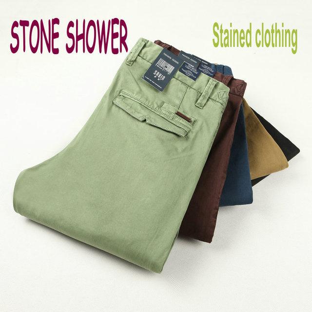 DUCHA DE PIEDRA Marca Masculina 100% de Algodón de Alta Calidad Los Hombres Rectos Casuales Pantalones Formales Slim Fit Pantalones de Los Hombres la Ropa Manchada