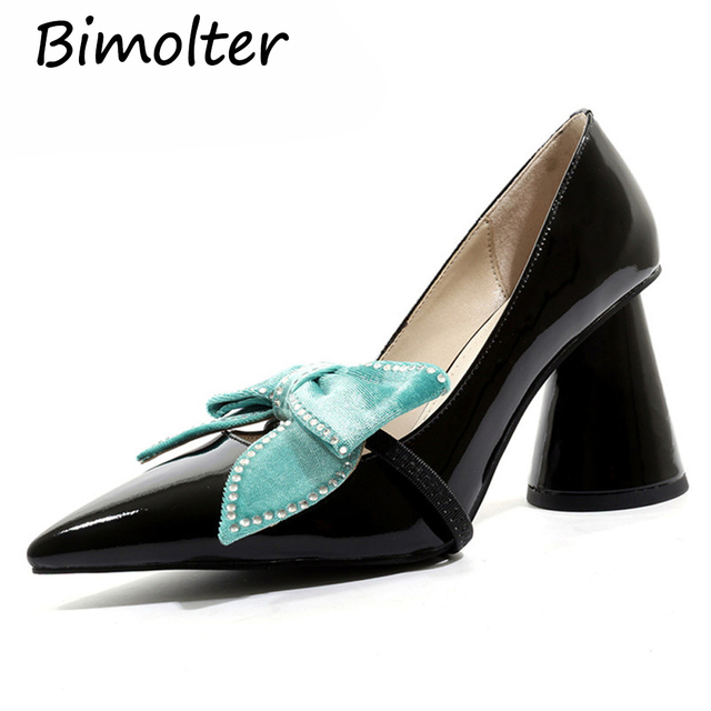 Bimolter 2019 Sexy Women Rhinestone Buttefly-knot Party Wedding Shoes Woman Genuine Leather High Heels Mary Jane Pumps Shoes NA0