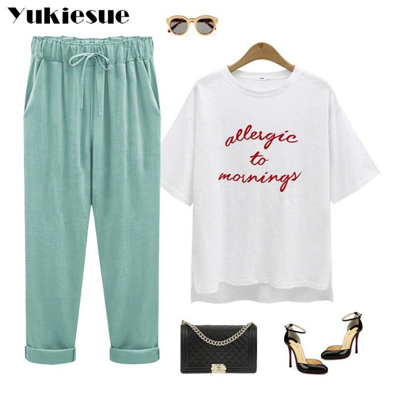 fff9a43c6e7 Harem pants capris women 2018 summer style high waist loose candy color  cotton linen pants female trousers Plus size M 6XL -in Pants   Capris from  Women s ...