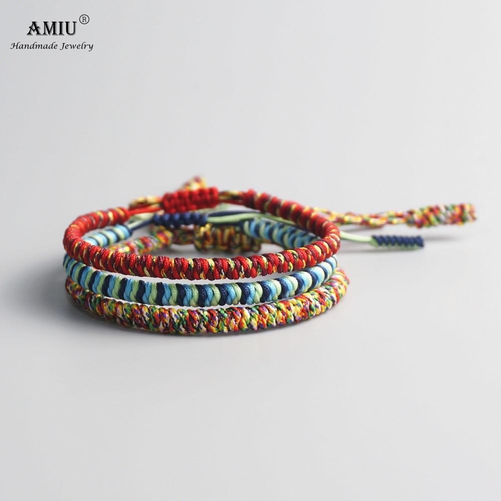 AMIU 3PCS Color Tibetan Buddhist Good Lucky Charm Tibetan Bracelets & Bangles For Women And Men Handmade Knots Red Rope Bracelet