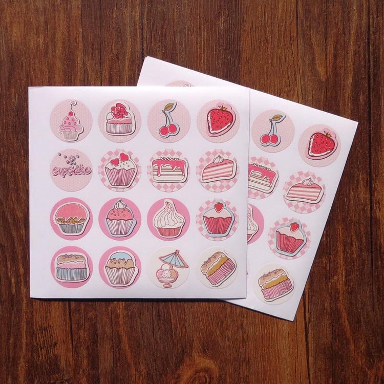 80Pcs Fruit Pink Ice cream Cake Handmade Cake Packaging Sealing Label Sticker Baking DIY Work Gift Box Round Stickers M1218