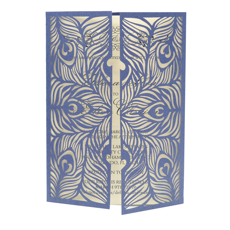 wedding invitation covers peacock feather design gate fold laser cut luxurious wedding invitation card box clutch purse