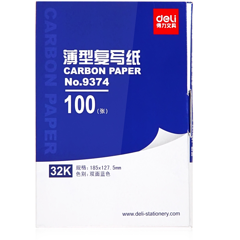1 Pack 100 Sheets Blue Color Carbon Paper Include 3 Red Ones 32k 127.5x185mm Accounting Supplies Deli 9374
