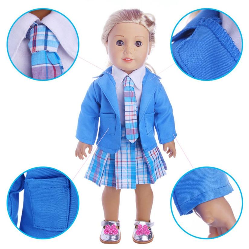 Dolls Accessories 2017 4PC Student Clothing Pleated Dress Uniform Outfit For 18 inch American Girl Doll D30