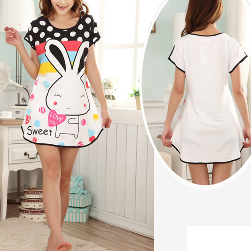 Womens   Nightgowns   New Cotton Nightwear Summer Dress Casual Loose Nightdress Female Night Shirt Women Sleepwear   Sleepshirt