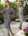 SexeMara мать Невесты Платья Топ Silver Grey Атласная Платья До Колен Кружевном Платье