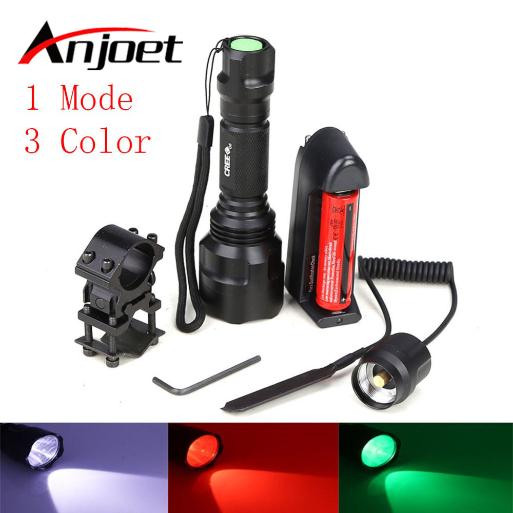 1 Set Tactical Flashlight White/Green/Red CREE T6 led torch+battery+Charger+Pressure Switch Mount Hunting Rifle Gun Light Lamp led tactical flashlight 501b cree xm l2 t6 torch hunting rifle light led night light lighting 18650 battery charger box