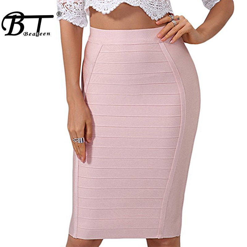 Beateen 2017 New Women Bandage Skirt Elastic Stripe Official Bodycon Pencil Knee Length Lady Fashion Sexy Skirt Wholesale