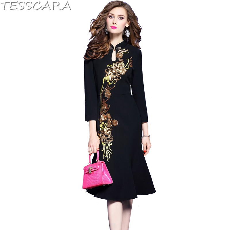 07f073d38f4a3e TESSCARA Women Autumn Winter Luxury Sequin Dress Female Chinese Style  Elegant Cocktail Vestidos Retro Party Robe Femme Plus Size-in Dresses from  Women s ...