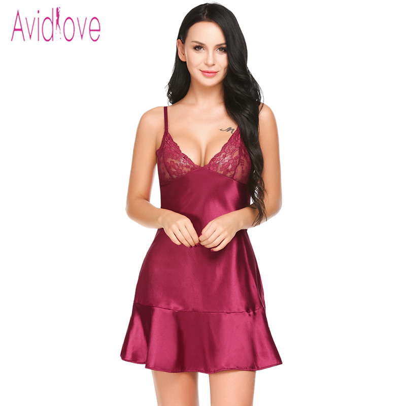 Avidlove Sexy Satin Nightgown Women Full Slip Ruffles Sleepwear V Neck Nightwear Nightdress Night Shirts Sleep