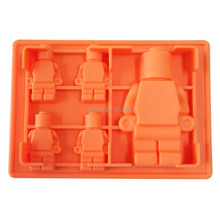 5x Silicone Robot Ice Mold Cream Tools Color Orange Tubs Cake Free Shipping