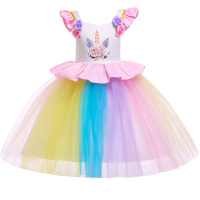 2019 Easter Unicorn Dress Party Carnival Dress Girl Newborn Girl Unicorn Colorful Dress Set baby Girl Summer Dress