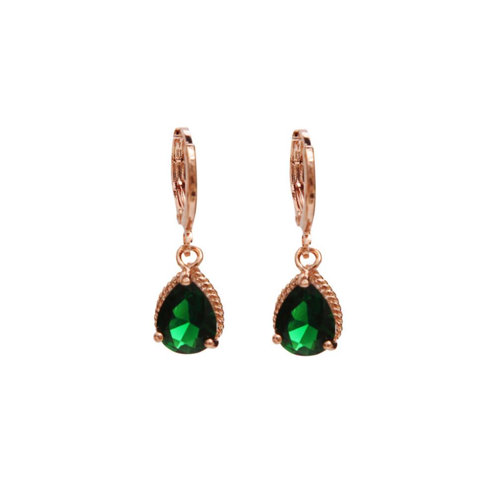Gold Color Earrings Green Water Drop CZ Stone Pierced Dangle Earrings Women/Girls Long Drop Earrings fashion jewelry 14