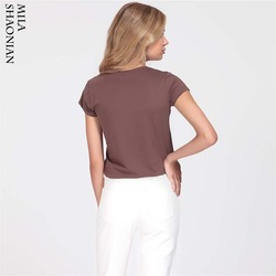 Summer Casual 15 Colors Solid Tshirt Women O-Neck Cotton colorful T shirt Basic Ladies Hot Sale Stretch White Tops tees Loose 4