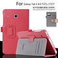 Для Samsung Galaxy Tab 8.0 SM-T377 T377V 8.0 дюймов Tablet Luxury Кожаный Бумажник Карты Ручной Ремешок Стенд Случае Покрытия