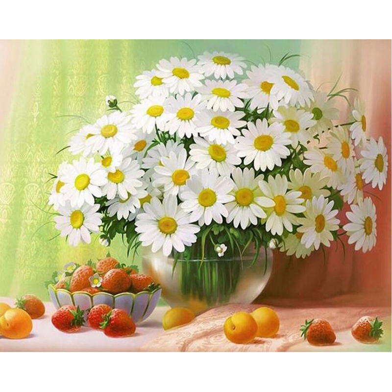 NEW 3D DIY Diamond Painting Cross Stitch White Daisies Floral Crystal Needlework Diamond Embroidery Flower Home Decorative LX