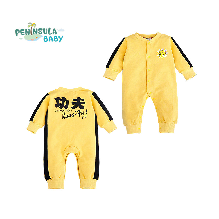 Bruce Lee Baby Rompers Yellow Costume Chinese Kungfu Jumpsuits Newborn Clothes Long Sleeve Infant Bebe Clothing Roupas Infantil cotton baby clothing long sleeve baby romper girls boys clothes roupas de bebe infantil newborn costumes rompers jumpsuits set