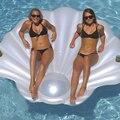 2019 nueva piscina de concha inflable caliente flotador de concha blanca piscina de natación con asa escalonada fila Aqua tumbona flotante natación anillo