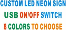 Custom LED Neon Sign with On/Off Switch 8 Colors to choose(China)