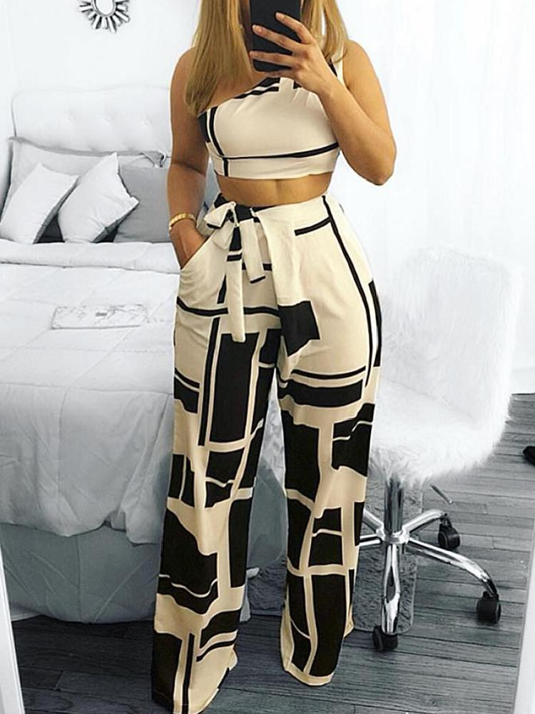 Women Fashion Self Belted Crop Top&Pants Colorblock One Shoulder Cropped High Waist Wide Pants Set
