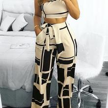Women Fashion Self Belted Crop Top Colorblock One Shoulder High Waist Wide Pants Set