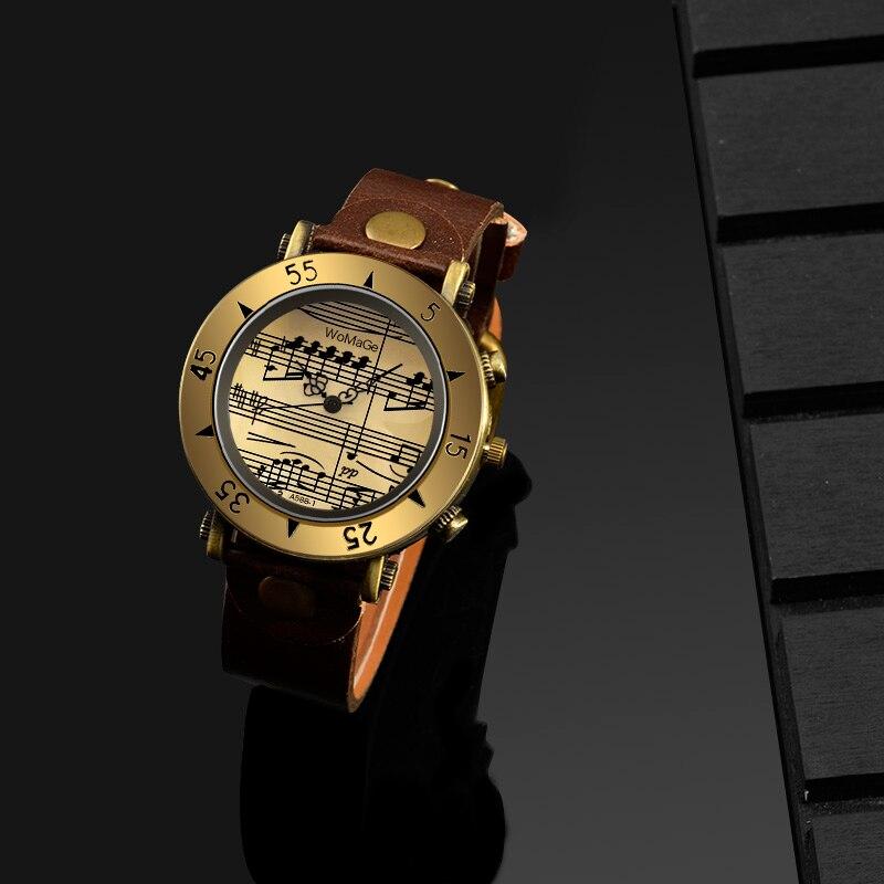 Women's Watches Womage Brand Music Leather Woman's Watch Luxury Gold Ladies Quartz Clock Female Relogio Feminino Bayan Kol Saati