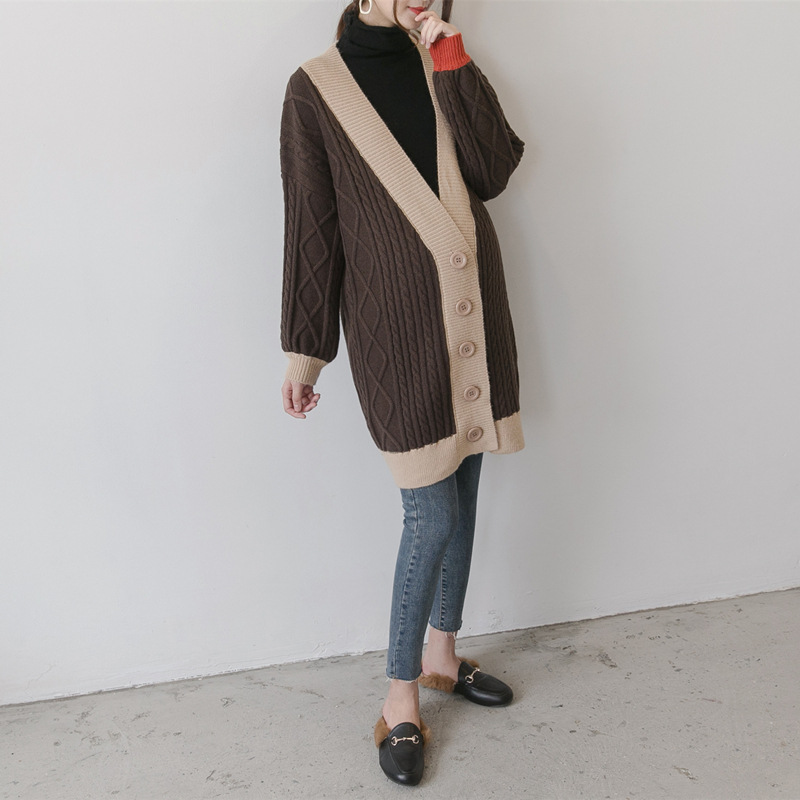 все цены на Pregnant Women Cardigan Casual winter Sweater Contrast Color Full Sleeve X-Long Loose Knitted Maternity Clothings
