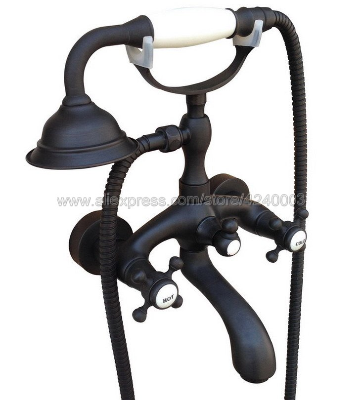 Oil Rubbed Bronze Bathroom Tub Faucet W/Hand Shower Sprayer Clawfoot ...