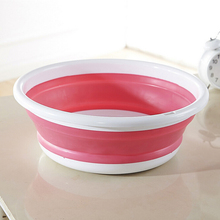 3 Colors Plastic folding bucket portable wash basin foldable washbasin food container bathroom products kitchen accessories