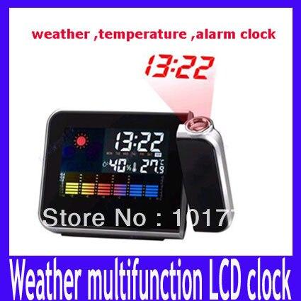 Free shipping Mini Desktop Wireless Multi-function Digital LCD Weather Station Temperature Projection Alarm Clock,MOQ=1