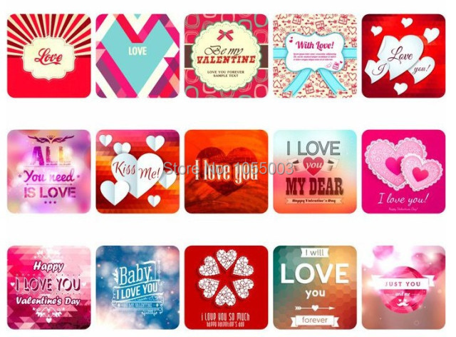 1 Lot 76pcs I Love You Kiss Valentines Day Vintage Stickers Diy