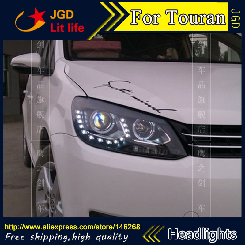 Free shipping ! Car styling LED HID Rio LED headlights Head Lamp case for VW  Touran 2011 Bi-Xenon Lens low beam