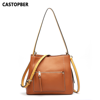 European and American Fashion Ladies Shoulder Handbags Women Cowhide Genuine Leather Tote Crossbody Bags Famous Brand Quality