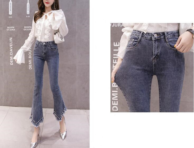 High Waist Women Jeans Flare Pants Tessal Bead Slim Fashion Pants High Waist High Elastic Ankle-Length Denim Trousers 8
