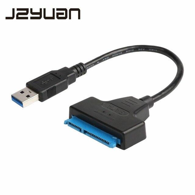 """JZYuan Sata para USB 3.0 Cabo Adaptador USB 3.0 para SATA 22pin SATA III Conversor Para O Portátil de 2.5 """"SATA HDD SSD Disco Rígido"""
